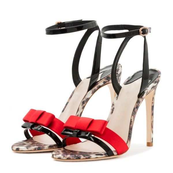 Black and Red Bow Leopard Print Ankle Strap Slingback Heels Sandals image 1