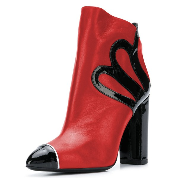 Black and Red Chunky Heel Boots Fashion Ankle Booties image 3