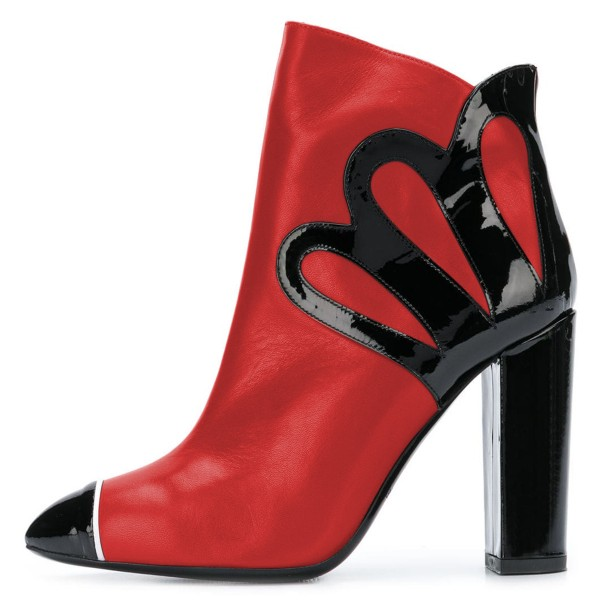 Black and Red Chunky Heel Boots Fashion Ankle Booties image 1