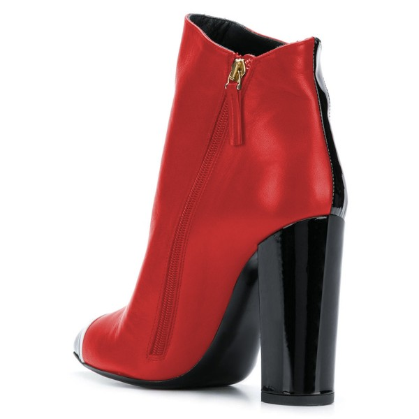 Black and Red Chunky Heel Boots Fashion Ankle Booties image 4