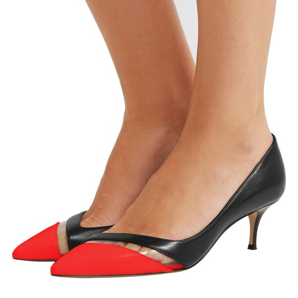 Black and Red Clear Stripe Kitten Heels Pumps image 1