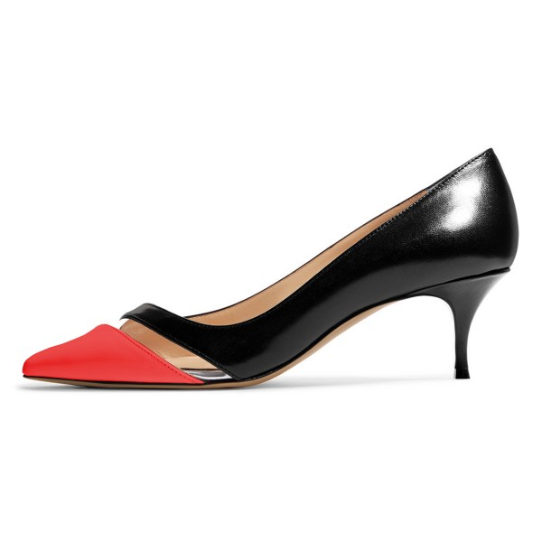 Black and Red Clear Stripe Kitten Heels Pumps image 3