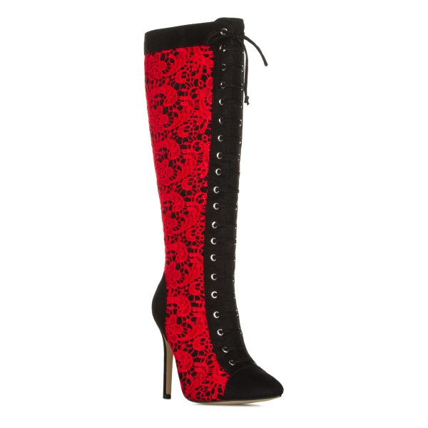 Red Lace Fashion Boots Stiletto Boots Lace Up Peep Toe Mid-calf Boots image 4