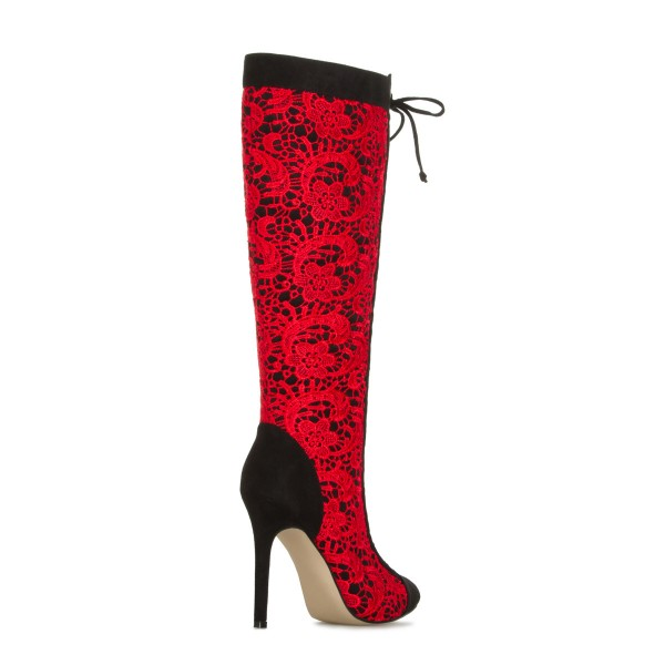 Red Lace Fashion Boots Stiletto Boots Lace Up Peep Toe Mid-calf Boots image 2