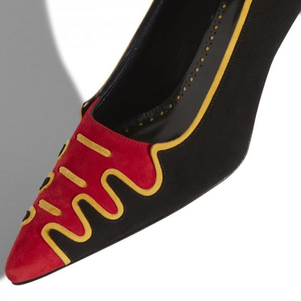Black and Red Suede Low Heel Suede shoes Pumps image 3