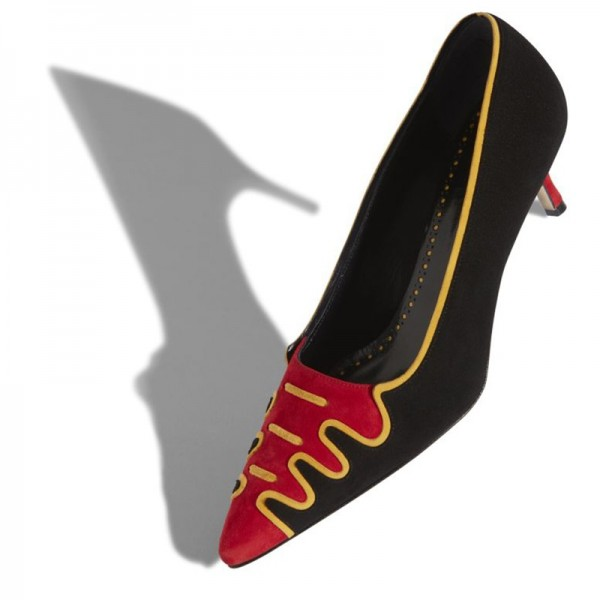 Black and Red Suede Low Heel Suede shoes Pumps image 2