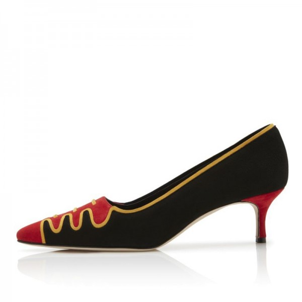 Black and Red Suede Low Heel Suede shoes Pumps image 4