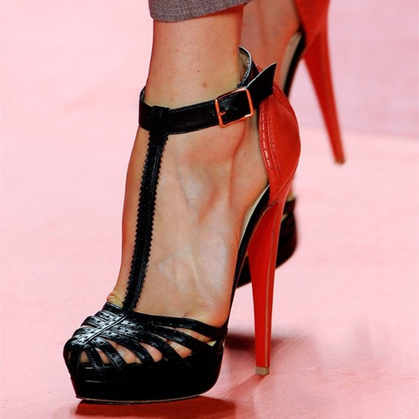 Black and Red T Strap Sandals Platform High Heel Shoes image 1