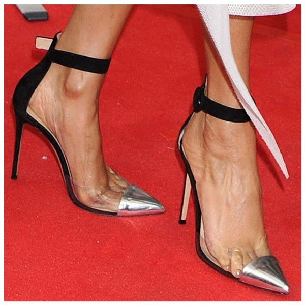 Black and Silver Clear Heels Pointy Toe Stilettos Ankle Strap Heels image 3