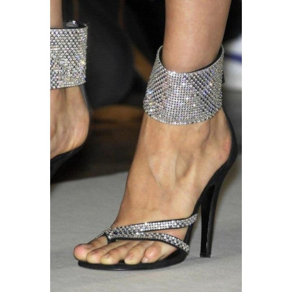Black and Silver Evening Shoes Sequined Ankle Strap Sandals Prom Shoes image 1