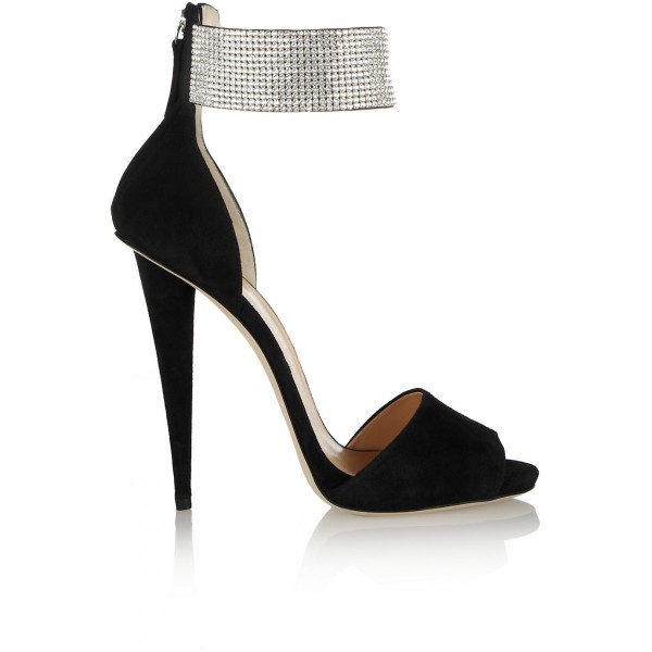Black and Silver Ankle Strap Sandals Peep Toe Heels Sequined Sandals image 2