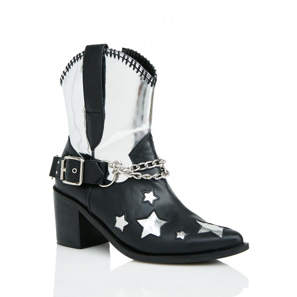 Black and Silver Cowgirl Boots Star Chunky Heel Mid Calf Boots  image 5
