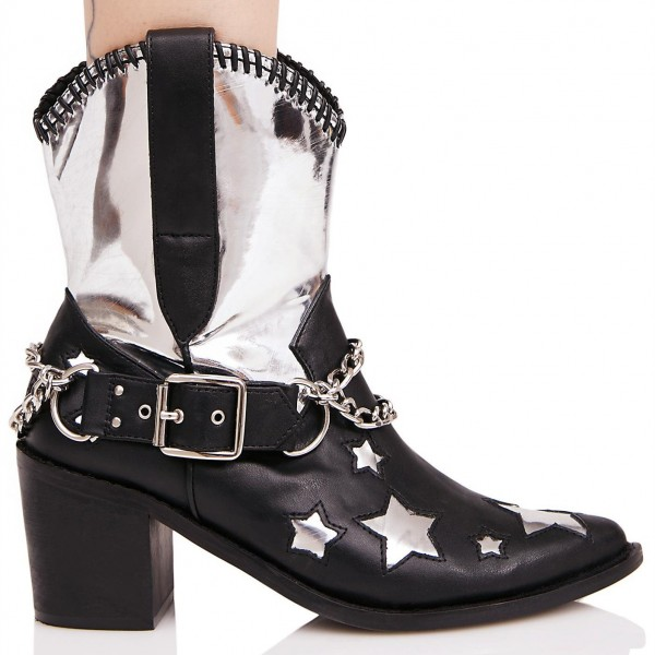 Black and Silver Cowgirl Boots Star Chunky Heel Mid Calf Boots  image 2