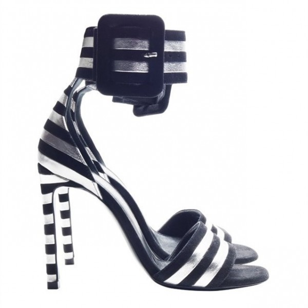 Women's Black and White Stripe Open Toe Ankle Strap Sandals image 4