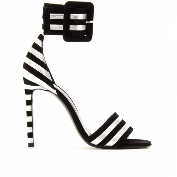 Women's Black and White Stripe Open Toe Ankle Strap Sandals image 2