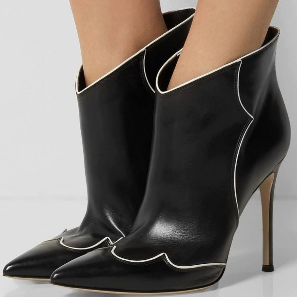 Black Stiletto Boots Fashion Pointy Toe Heeled Ankle Booties image 1