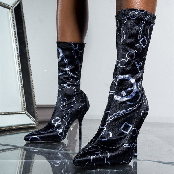Black Lycra Sock Boots Chains Print Pointy Toe Fashion Mid Calf Boots image 1