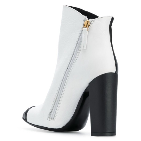 Black and White Chunky Heel Boots Fashion Ankle Booties image 3