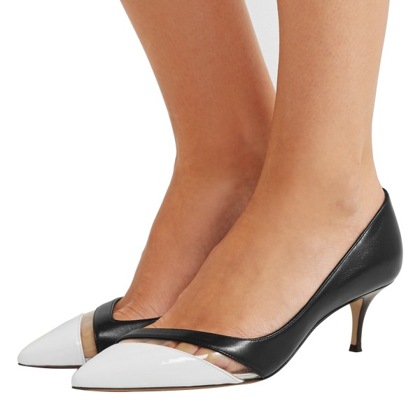Black and White Clear Stripe Kitten Heels Pumps image 1