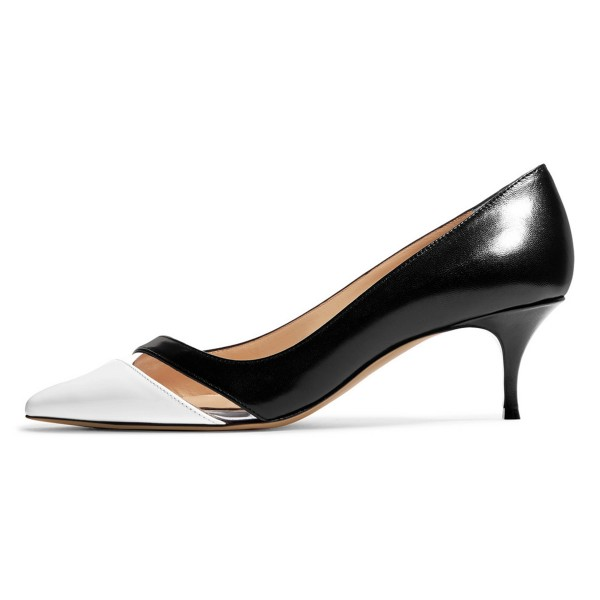 Black and White Clear Stripe Kitten Heels Pumps image 3