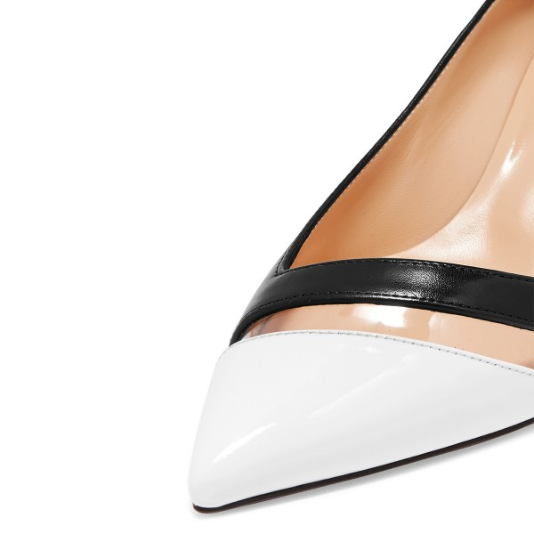 Black and White Clear Stripe Kitten Heels Pumps image 4