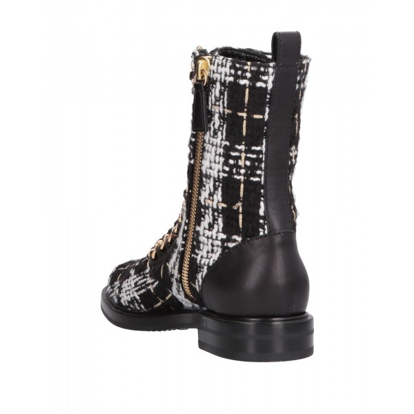 Black and White Combat Boots Metal Chain Lace Up Flat Ankle Boots image 2