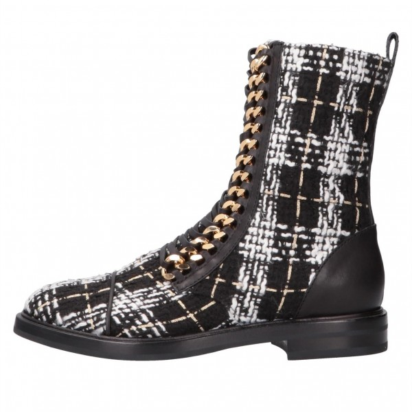 Black and White Combat Boots Metal Chain Lace Up Flat Ankle Boots image 4