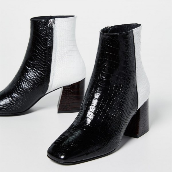 Black and White Lizard Printed Block Heels Ankle Booties with Zipper image 3