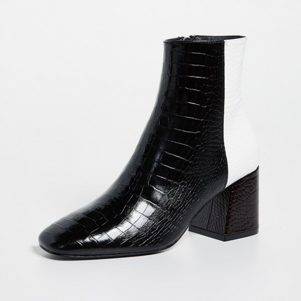 Black and White Lizard Printed Block Heels Ankle Booties with Zipper image 2