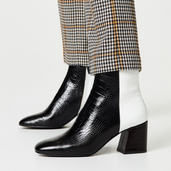 Black and White Lizard Printed Block Heels Ankle Booties with Zipper image 1