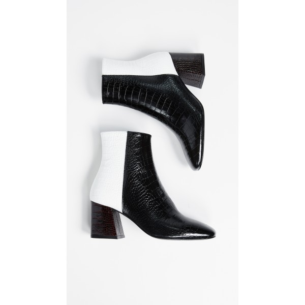 Black and White Lizard Printed Block Heels Ankle Booties with Zipper image 5