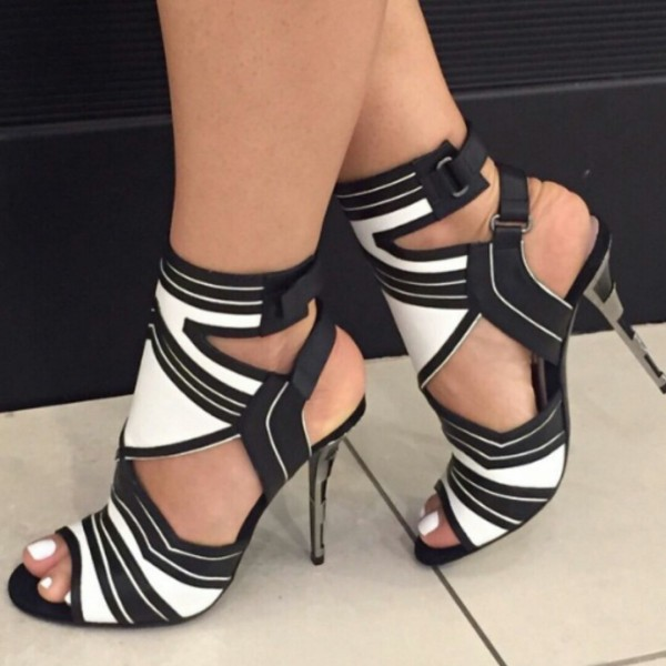 Black and White Dress Shoes Slingback Peep Toe Stiletto Heels Sandals image 1