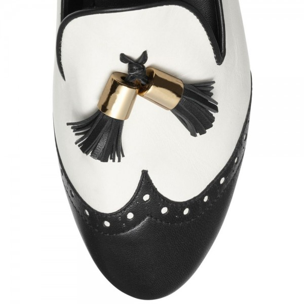 Black and White Tassels Hollow out Loafers Casual Shoes for women image 4