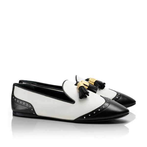 Black and White Tassels Hollow out Loafers Casual Shoes for women image 3