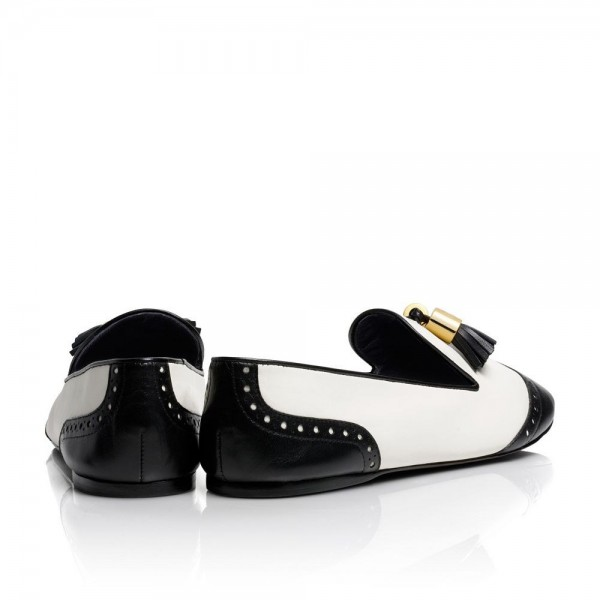 Black and White Tassels Hollow out Loafers Casual Shoes for women image 2