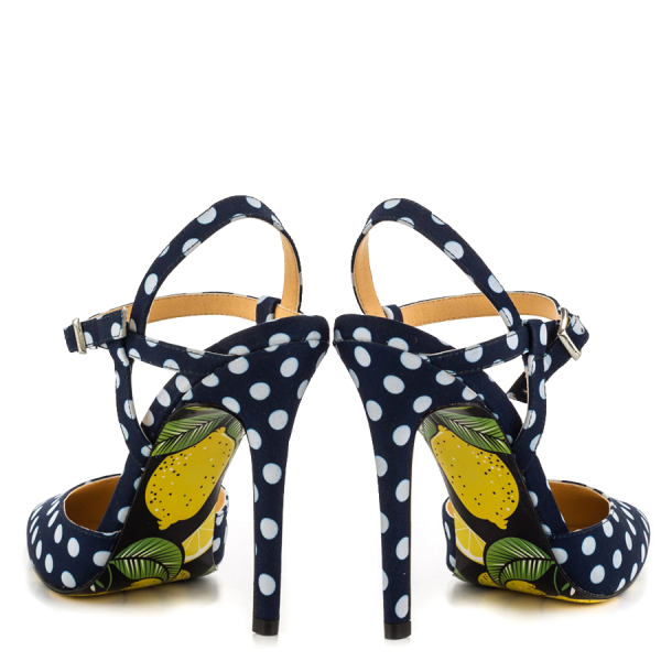Black and White heels Floral Heels Closed Toe Sandals Slingback Shoes image 3