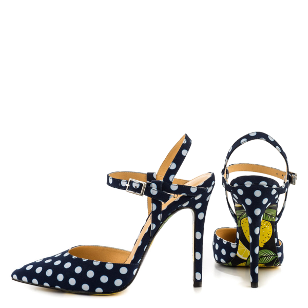 Navy and White Satin Closed Toe Sandals