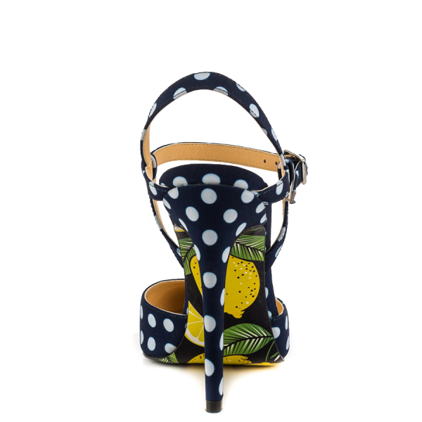 Black and White heels Floral Heels Closed Toe Sandals Slingback Shoes image 2