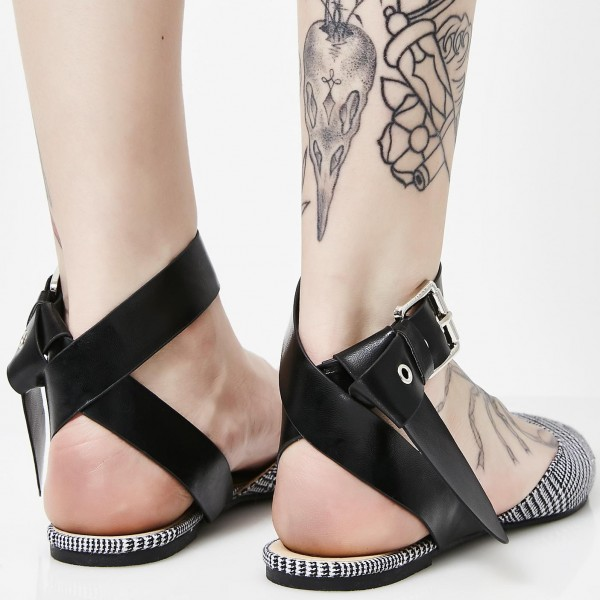 Black and White Heels Houndstooth Pointy Toe Flats Ankle Strap Sandals image 4