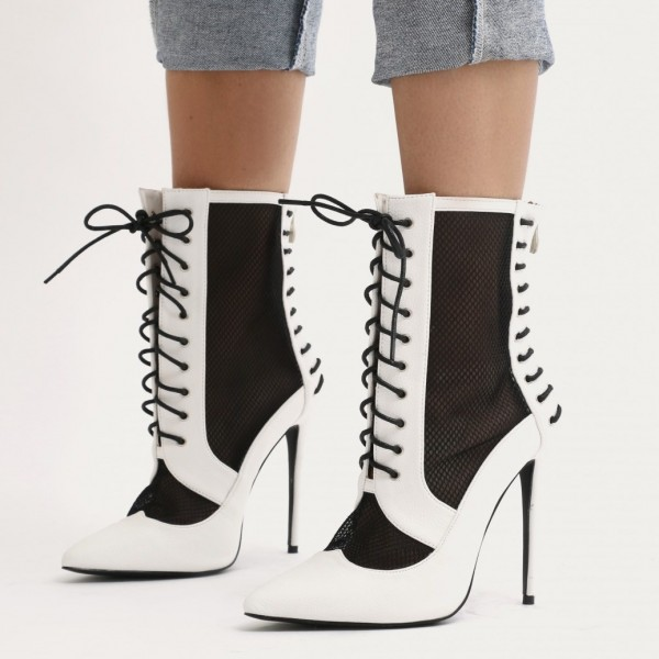 0618ccc6fcc9e Black and White Heels Lace up Boots Pointy Toe Ankle Booties image 1 ...