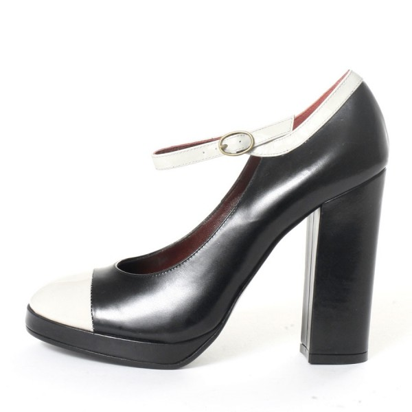 Black and White Heels Mary Jane Pumps Chunky Heels Shoes image 1