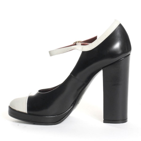 Black and White Heels Mary Jane Pumps Chunky Heels Shoes image 3