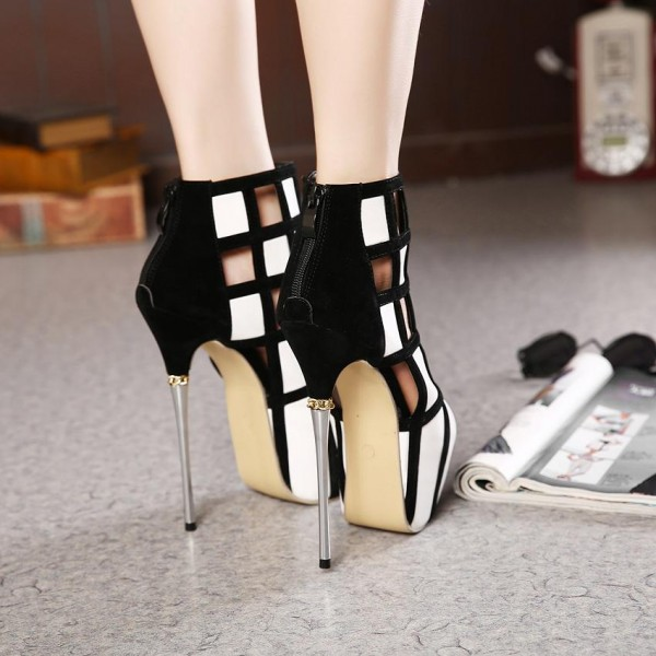 Women's White and Black Peep Toe Hollow Out Stiletto Heels Party Shoes image 2