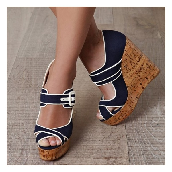 Navy Denim Heels Cork Wedges Peep Toe Platform Pumps image 1