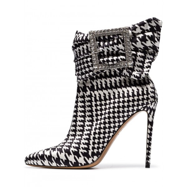 Rhinestone Buckles Boots Pointy Toe Houndstooth Ankle Booties image 1