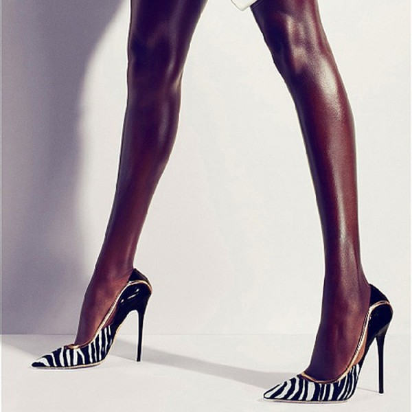 Black and White Heels Pointy Toe Zebra Stiletto Heels Pumps image 1