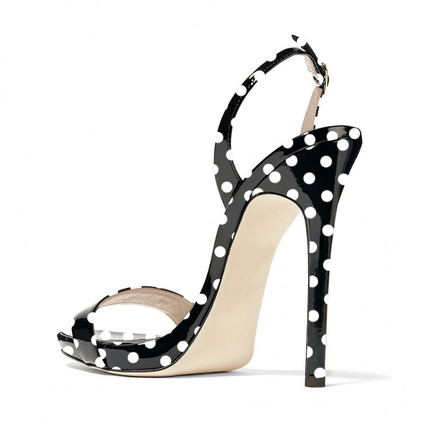 Black and White Heels Polka Dots Stiletto Heels Slingback Sandals image 2