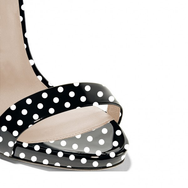 Black and White Heels Polka Dots Stiletto Heels Slingback Sandals image 4
