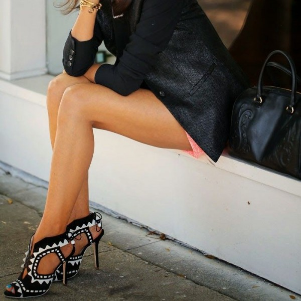 Black and White Heels Peep Toe Cutout Sandals Stiletto Heels  image 3
