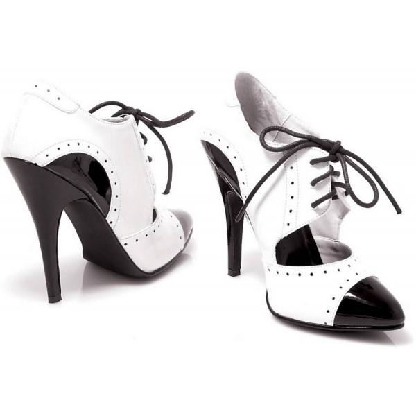 Black and White Oxford Heels Cut out Lace up Vintage Shoes image 3